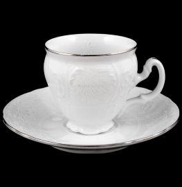 """набор кофейных пар 90 мл 6 шт высокие н/н """"бернадотт/платиновый узор"""" / 052355"""