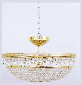"""люстра 9 рожковая хрусталь /золото """"титания люкс"""" h-28 см, диаметр 50 см, вес -3,8 кг / 004406"""