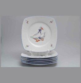 """набор тарелок 26 см 6 шт """"тетра /гуси""""  / 013575"""