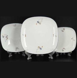 "набор тарелок 18 предметов (17, 20, 25 см) ""гуси /тхун"" / 101475"