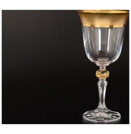"""бокалы для красного вина 220 мл 6 шт """"кристина /матовая полоса /золото"""" / 108618"""