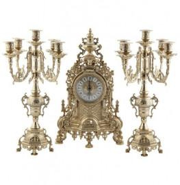 """набор 3 предмета (часы 24,5 х 42 см + 2 подсвечника 12 х 41 см) латунь """"барокко /a.livio"""" / 104765"""