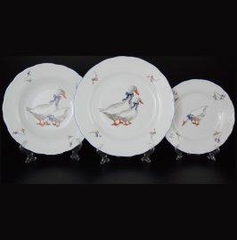 """набор тарелок 18 предметов (19, 23, 25 см) """"офелия /гуси"""" / 013562"""