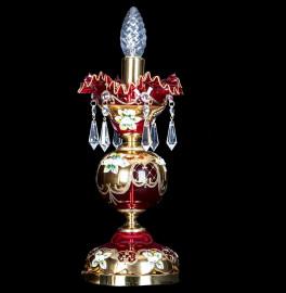 """лампа настольная 1 рожковая хрусталь """"лепка красная /elite bohemia"""" d-5 см, h-9 см, вес-1,1 кг / 136566"""
