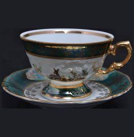 """набор чайных пар 240 мл 6 шт """"фредерика /охота зелёная"""" / 034078"""