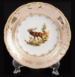 "набор тарелок 23 см 6 шт (глубокие) ""фредерика /охота бежевая"" / 122809"