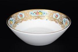 """набор салатников 18 см 6 шт """"вена /розочки на голубом /с золотом"""" / 117254"""