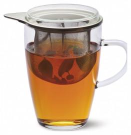 """кружка 350 мл стеклянная с ситечком для чая """"simax /без декора"""" / 125037"""