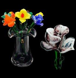 цветок стеклянный 50 см /роза бело-фиолетовая / 030021
