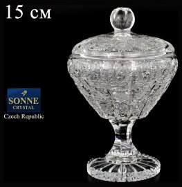 "вазочка 15 см с крышкой н/н ""s.crystal /хрусталь резной"" / 083828"