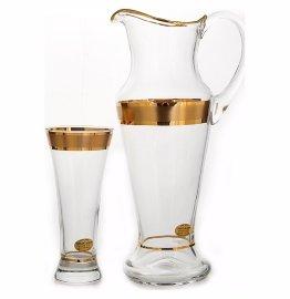 """набор для воды 7 предметов (кувшин + 6 стаканов) """"иксовка /матовая полоса /золото"""" / 108768"""